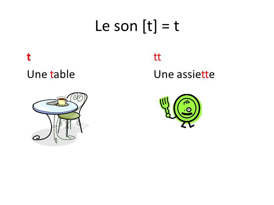 Le son [t] = t t tt Une table Une assiette